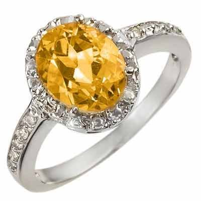 Fine 2.10ctw ACA Certified Diamond & Citrine Ring Gold