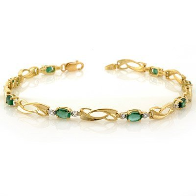 ACA Certified 2.02ctw Diamond & Emerald Bracelet Gold