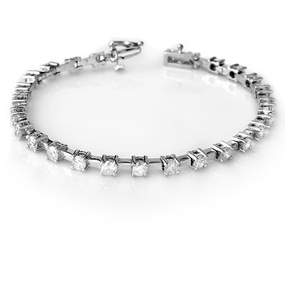 ACA Certified 5.0ct Diamond Bracelet Classic White Gold