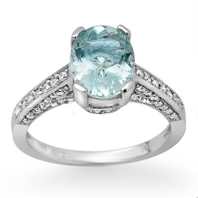 Certified 2.30ctw Diamond & Aquamarine Ring 14K Gold