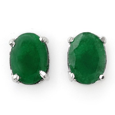 2.00ctw Emerald Stud Earrings 14K White Gold