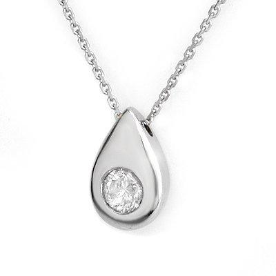 Solitaire 0.40ctw Diamond Necklace 14K White Gold