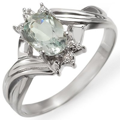 Fine 0.79ctw ACA Certified Diamond & Aquamarine Ring