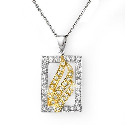 Famous 0.45ctw ACA Certified Diamond Necklace Two-Tone
