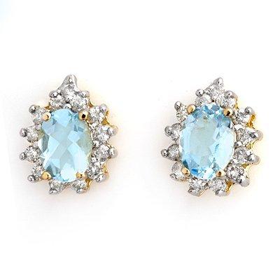 Fine 3.75ctw Certified Diamond & Aquamarine Earrings