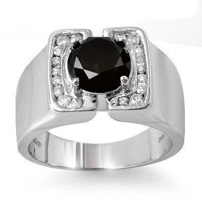 Certified 2.33ctw White & Black Diamond Men's Ring Gold