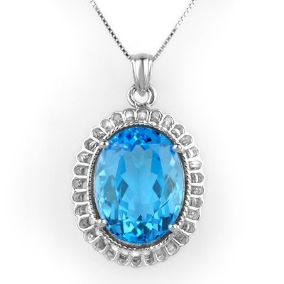 ACA Certified 18.00ctw Blue Topaz Necklace White Gold