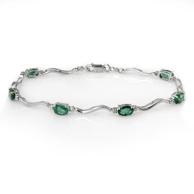 ACA Certified 3.02ctw Diamond & Emerald Tennis Bracelet