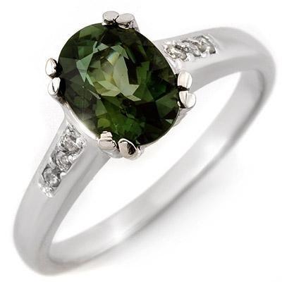 Ring 1.60ctw ACA Certified Diamond & Green Tourmaline
