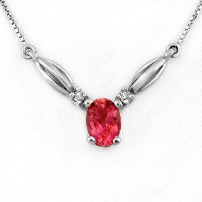 Necklace 1.30ctw Diamond & Pink Tourmaline