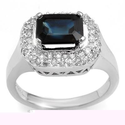 Fine 2.90ctw ACA Certified Diamond & Blue Sapphire Ring