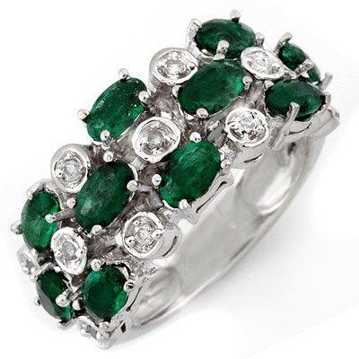 ACA Certified 2.20ctw Diamond & Emerald Ring White Gold