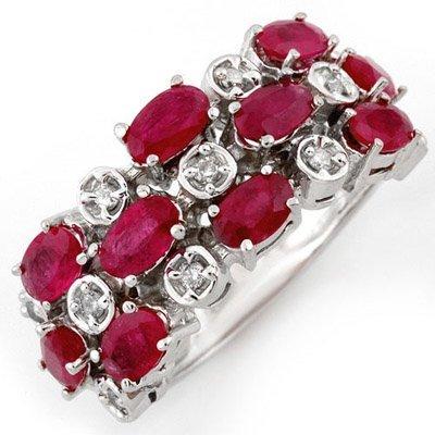 ACA Certified 3.20ctw Diamond & Ruby Ring White Gold