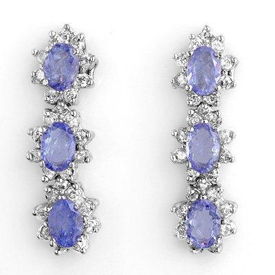 Certified 4.38ct Diamond & Tanzanite Earrings 14K Gold