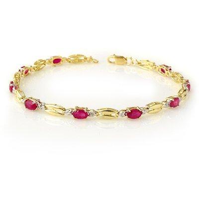 ACA Certified 3.25ctw Ruby Bracelet Yellow Gold