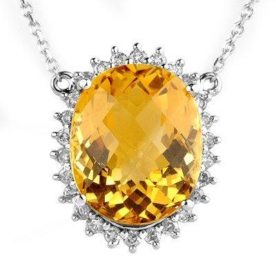 Fine 15.75ctw ACA Certified Diamond & Citrine Necklace