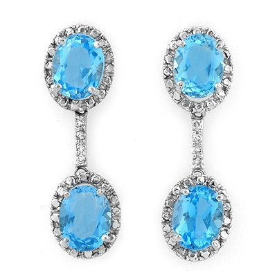 Certified 10.10ctw Diamond & Blue Topaz Earrings Gold