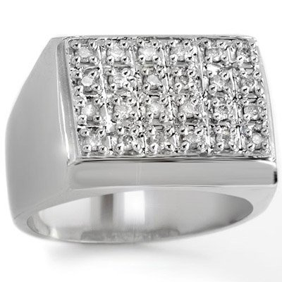 ACA Certified 0.50ctw Diamond Men's Ring in White Gold
