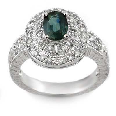 Fine 2.08ctw ACA Certified Diamond & Blue Sapphire Ring