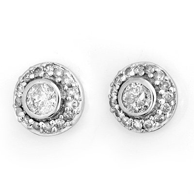 Diamond Cluster 0.90ctw Stud Earrings 14K White Gold