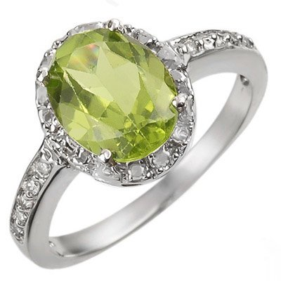 Fine 2.10ctw ACA Certified Diamond & Peridot Ring Gold