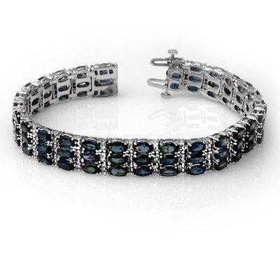Bracelet 30.26ctw Certified Diamond & Blue Sapphire 14K