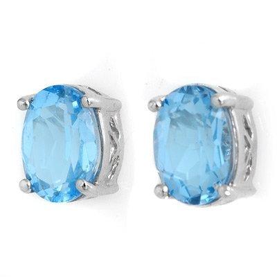 Certified 2.0ctw Blue Topaz Stud Earrings White Gold