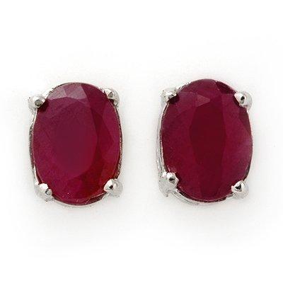 Fine 1.5ctw Ruby Stud Earrings White Gold