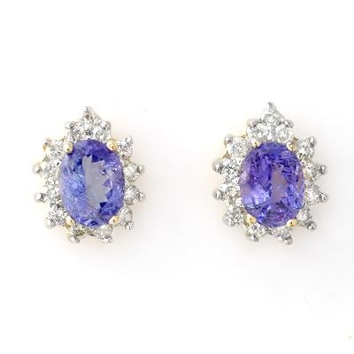 Earrings 4.25ctw ACA Certified Diamond & Tanzanite 14K