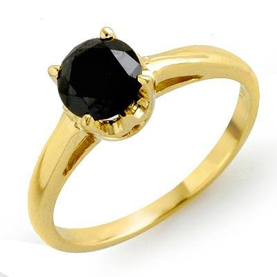 ACA Certified 1.0ct Black Diamond Ring 14K Yellow Gold