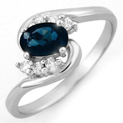 ACA Certified 0.70ctw Diamond & Blue Sapphire Ring Gold