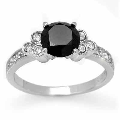Certified 1.86ctw White & Black Diamond Ring 14K Gold