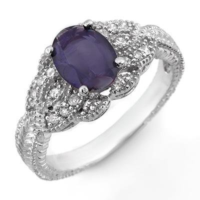 ACA Certified 1.35ctw Diamond & Iolite Ring 14K Gold