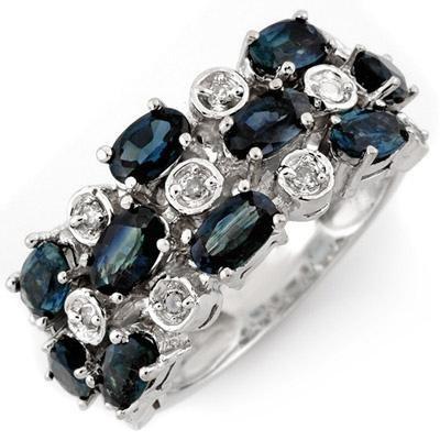 Fine 4.20ctw ACA Certified Diamond & Blue Sapphire Ring