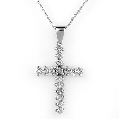 Certified 0.75ctw Diamond Cross Necklace 14K White Gold