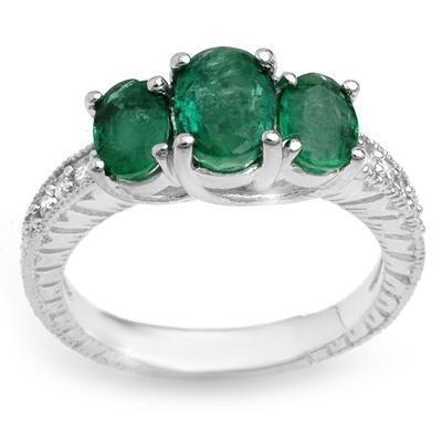 ACA Certified 2.50ctw Diamond & Emerald Ring White Gold