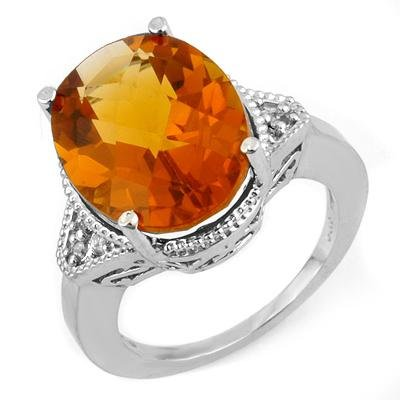 Ring 11.18ctw ACA Certified Diamond & Checkered Citrine