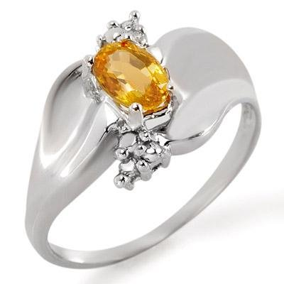 Ring 0.79ctw ACA Certified Diamond & Yellow Sapphire