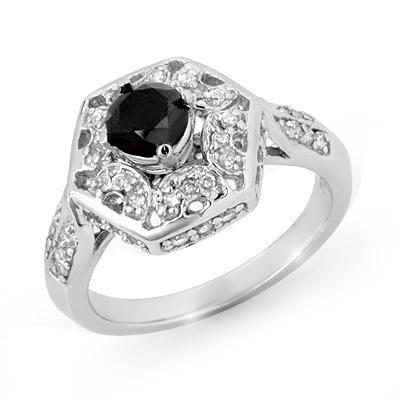 Certified 1.15ctw White & Black Diamond Ring 14K Gold