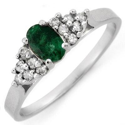 ACA Certified 0.50ctw Diamond & Emerald Ring White Gold