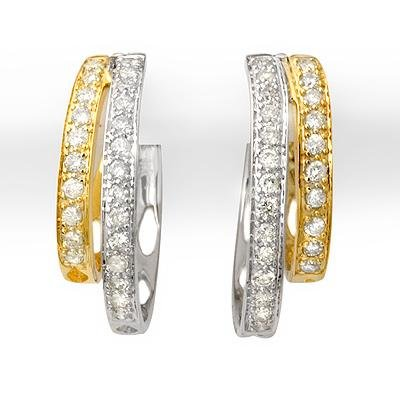Certified 0.65ctw Diamond Hoop Earrings Two-Tone Gold