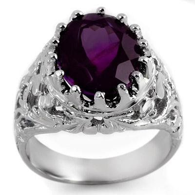 ACA Certified 8.0ctw Amethyst Men's Ring in White Gold