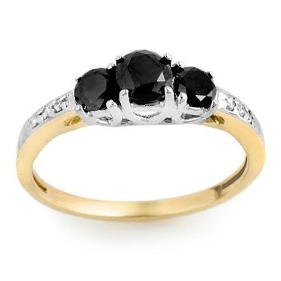 Certified 1.05ctw White & Black Diamond Ring 14K Gold