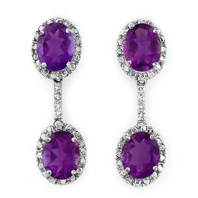 ACA Certified 7.10ctw Diamond & Amethyst Earrings
