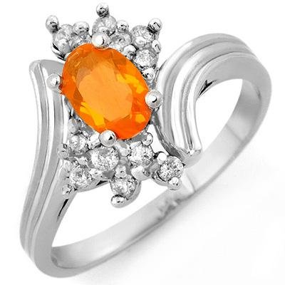 Fine 0.65ctw ACA Certified Diamond & Fire Opal Ring