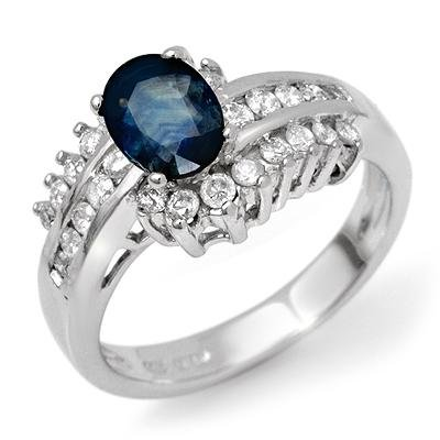 Natural 1.75ctw Diamond & Sapphire Ring 14K White Gold
