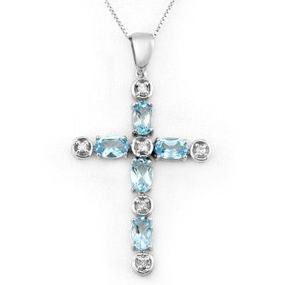 Necklace 3.15ctw ACA Certified Diamond & Blue Topaz