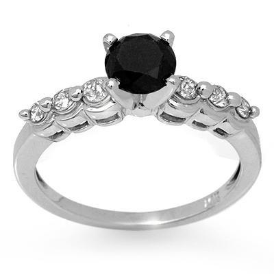 Certified 1.30ctw White & Black Diamond Ring 14K Gold