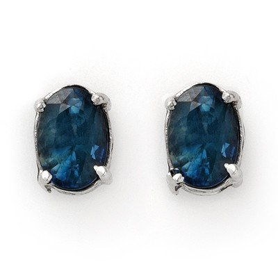 3.00ctw Sapphire Stud Earrings White Gold