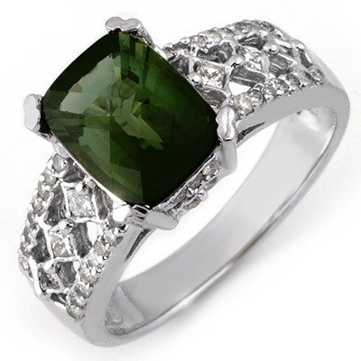 Ring 3.0ctw ACA Certified Diamond & Green Tourmaline